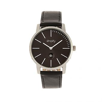 Simplify The 4700 Leather-Band Watch w/Date - Black