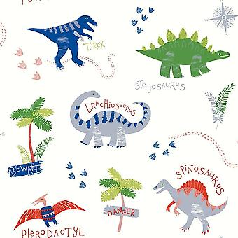 Dino Doodles Multicoloured Wallpaper Dinosaurs Kids Bedroom Animals Arthouse