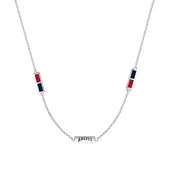 Los Angeles Angels Sterling Silver Engraved Triple Station Necklace In Red & Blue