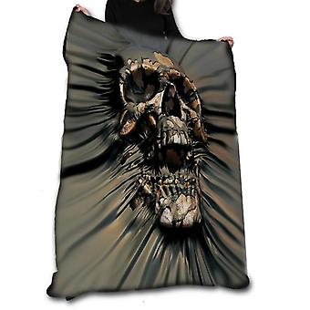 Skull rip fleece blanket / throw / tapestry  by david penfound