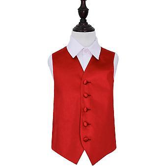 Apple Red Plain Satin Wedding Waistcoat for Boys