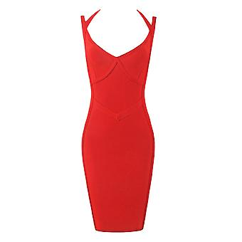 Luxe Strappy Red Bandage Dress