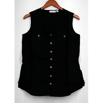 سوزان جرافر أعلى الكتان مزيج بلا أكمام زر القميص الأمامي الأسود A265837