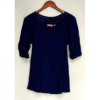 Ava Rose Lattice Embellished 3/4 Sleeve Knit Tee Blue Top Womens #0