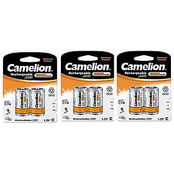 6x Camelion rechargeable C batteries NiMH HR14 2500mAh battery