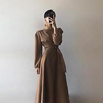 High Waist Lantern Long Sleeve  Dress
