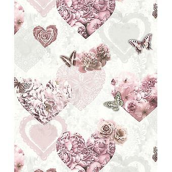 Pink White Floral Glitter Wallpaper Butterflies Hearts Girls Flowers Arthouse