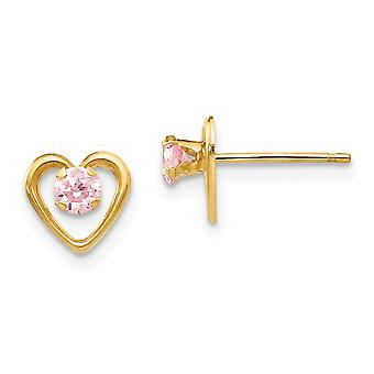 14k Yellow Gold Polished Heart With Pink Cubic Zirconia Post Earrings