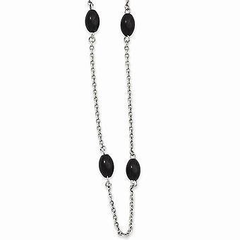 Roestvrij stalen slip op gepolijste Ip Zwart vergulde kralen 62inch ketting 62 Inch sieraden geschenken voor vrouwen