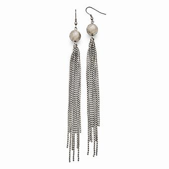 Stainless Steel Polished Laser Cut Bead With Tassel Earrings Jewelry Gifts for Women