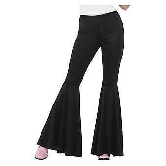 Womens Black Flared Trousers 70s Fancy Dress Accessory