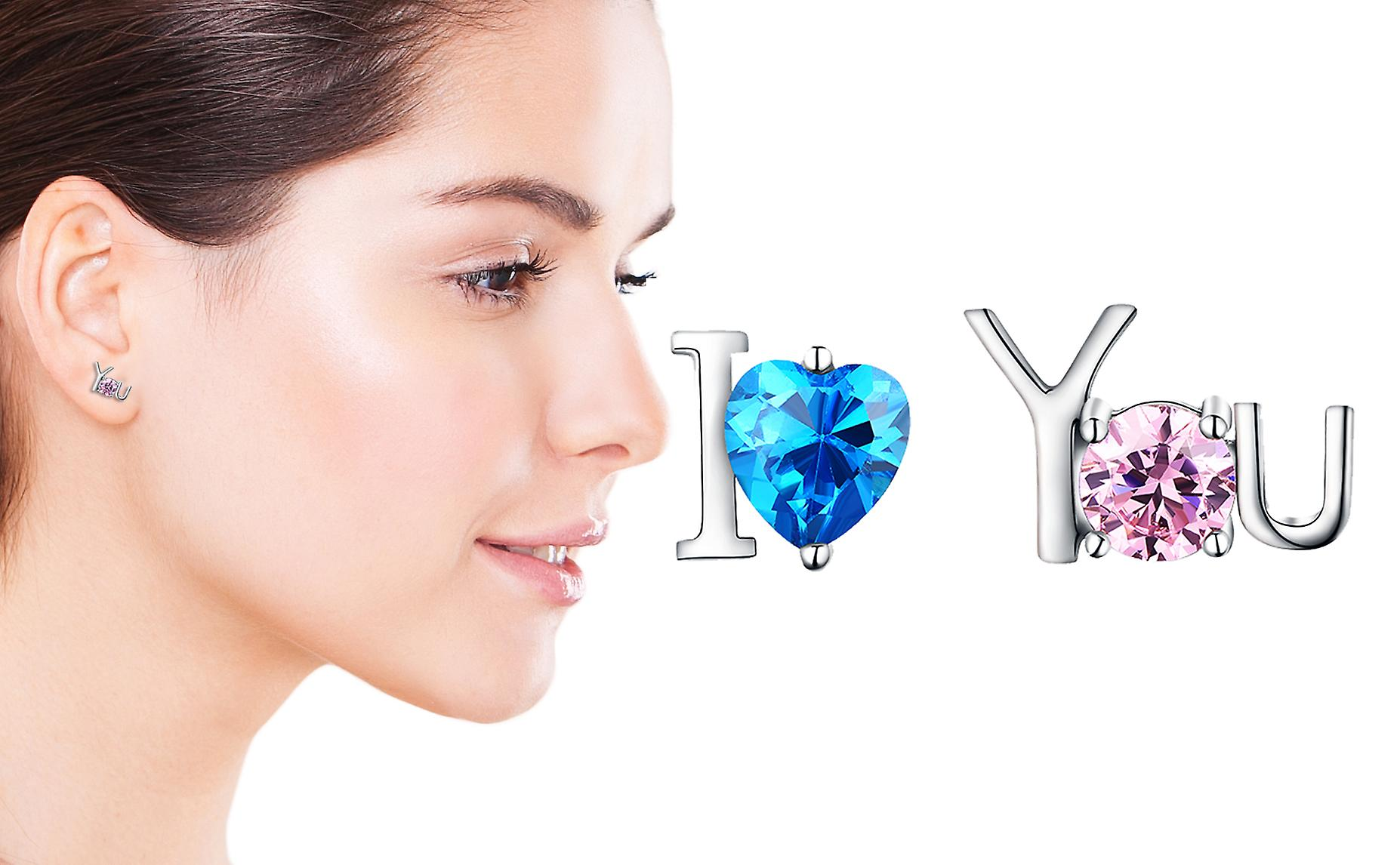 925 Sterling Silver I Love You Studs Pink & Blue Stone Earrings