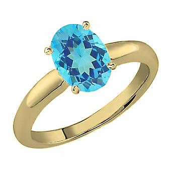 Dazzlingrock Collection 10K 8X6 MM Oval Cut Blue Topaz Ladies Solitaire Bridal Engagement Ring, Yellow Gold