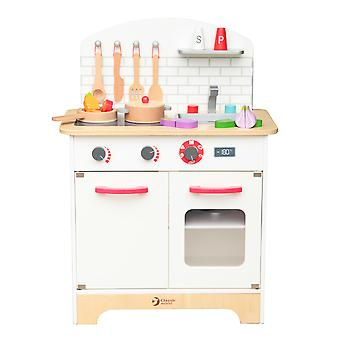 Classic World - Children's Wooden Chef's Mini Toy Kitchen Set, Role Playing Game with Pans, Utensiles and Food