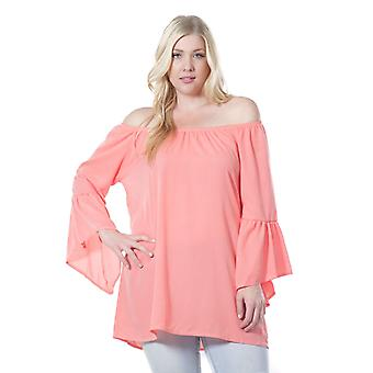 Women's Fashion Long Bell Sleeve Blouse Coral