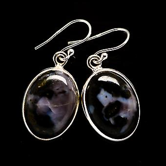 "Gabbro Stone Earrings 1 3/8"" (925 Sterling Silver)  - Handmade Boho Vintage Jewelry EARR392570"