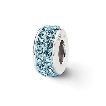 925 Sterling Zilver gepolijst Reflecties Sky Blue Dubbele rij Crystal Bead Charme Hanger Hanger Sieraden Geschenken voor vrouwen