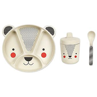 Petit collage 3 pieza Bamboo eco Dinnerware Set, Panda