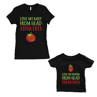 Love From Head Tomatoes Mom and Baby Matching Gift Shirts Black