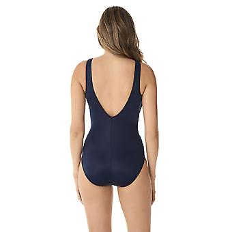 Miraclesuit 6519089W-MDN Women's Illusionists Crossover Midnight Blue Plus Size Shaping Swimsuit