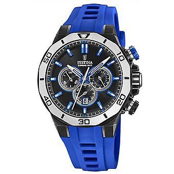 Se Festina F20450-5-CHRONOBIKE Chronograph/Dateur silikone blå kasse boks sort stål mænd