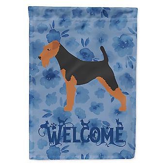 كارولينز كنوز CK6112CHF الويلزية الكلب نرحب العلم قماش البيت حجم