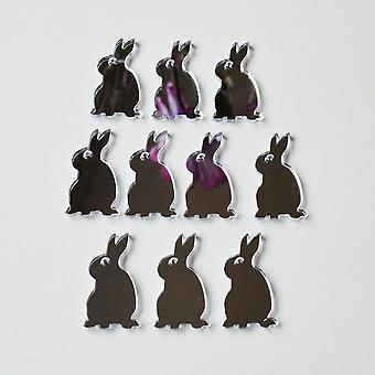يجلس الأرنب أرنب ميني كرافت الحجم مرايا اﻷكريليك (10Pk)
