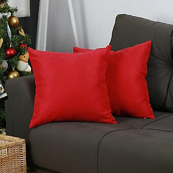 Set of 2 Red Brushed Twill Decorative Throw Pillow Covers