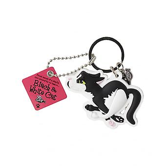 Wags & Whiskers Keyring - Black & White Cat (running)