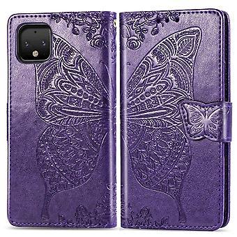 Für Google Pixel 4 XL Fall Schmetterling Liebe Brieftasche Schutzhülle dunkel lila