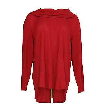 Style & Co. Women's Plus Sweater Cowl Neck Waffle True Red
