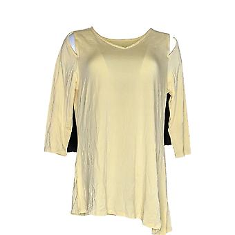 Belle by Kim Gravel Women's Top Knit Asymmetrical Hem Yellow A307422