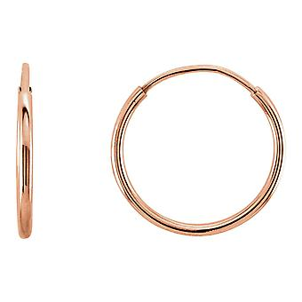 14k Rose Gold 12mm Polished Endless Hoop Earrings Jewelry Gifts for Women - .3 Grams