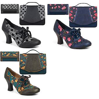 Ruby Shoo Women's  Daisy Lace Up Shoe Boots & Matching Belfast Bag & Ontario Purse