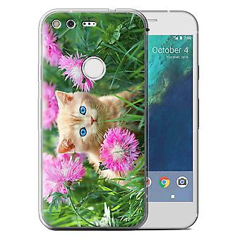 STUFF4 Gel TPU Case/Cover for Google Pixel (5.0'')/Garden/Cute Kittens