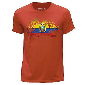STUFF4 Men's Round Neck T-Shirt/Ecuador/Ecuadorian Flag Splat/Orange