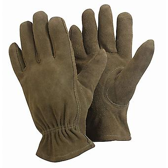 Womens/Ladies Medium Gardening Gloves Washable Supple Durable Leather Protection