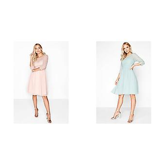 Little Mistress Womens/Ladies Embellished Pearl Midi Prom Dress