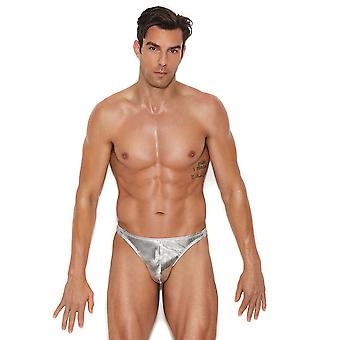 Mens Shiny Silver Pouch Thong Underwear Brief