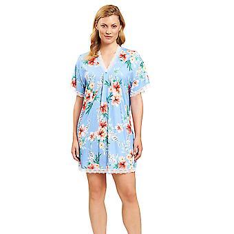 Rösch 1203103-16070 Women's New Romance Blue Hibiskus Floral Nightdress