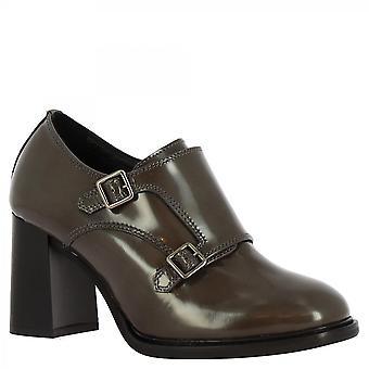 Leonardo Shoes Women's handgemaakte hakken enkellaarzen grijze glimmende lederen gespen