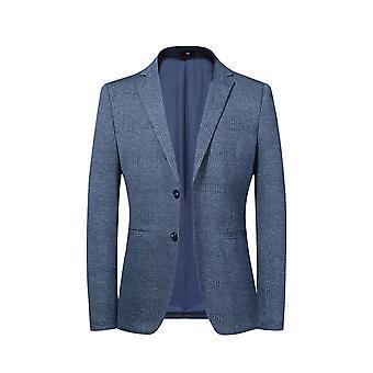 Allthemen Män & apos; s 2 Knapp Jacquard Sport Coat enfärgad Slim Fit Suit Jacket Blå