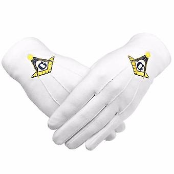 Masonic gloves yellow square compass with g machine embroidery 2 x pair