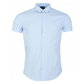 Armani Short Sleeved Cotton Poplin Stripe Shirt