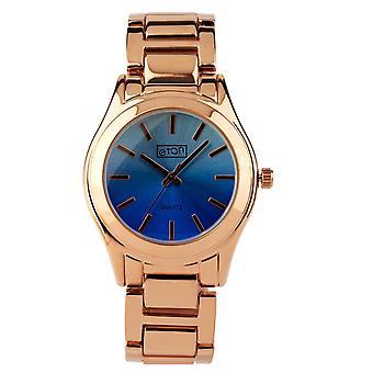 Reloj de moda Eton, acabado en oro rosa, esfera de color azul sombreado 3216J-BL