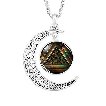 Moon all-seeing eye masonic necklace