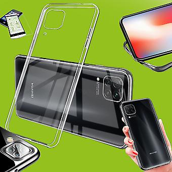 Para Huawei P40 Lite Silicone Case TPU Transparente + 0,26 H9 Capa da capa da caixa de vidro