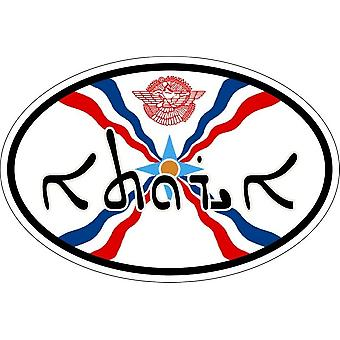 Sticker sticker oval oval flag code assyrian assyrian country