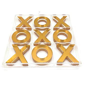 OnDisplay Luxe Acrylic Tic Tac Toe Set - Executive Crystal Clear Laser Cut Acrylic Game (Gold)