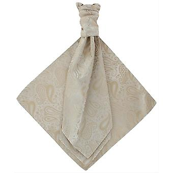 Michelsons of London Tonal Paisley Cravat and Pocket Square Set - Taupe